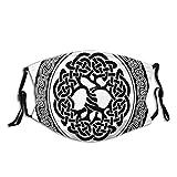 Visage Couvre-Bouche Arbre de Vie Celtique Indigène Irlande Début de la Renaissance Design Moderne Balaclava Réutilisable Coupe-Vent Anti-Poussière Bouche Bandanas Cache-Cou avec 2 Filtres