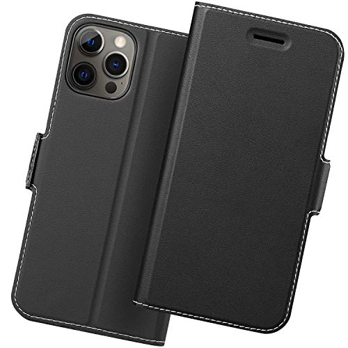 Holidi Funda iPhone 12 Pro, Fundas iPhone 12 Pro Libro, Carcasa iPhone 12 Pro con Cierre Magnético, Tarjetero y Suporte, Capa iPhone 12 Pro Plegable Cartera, Flip Cover Case, Tipo Étui Piel. Negro