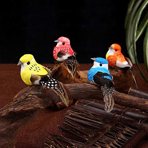 Lai-LYQ kunstmatige vogel in miniatuur, realistisch schuim, vogelclip, klauwen voor park, huis, tuin, decoratie, boom 6 Pz Uccello Con Clip