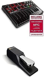 $118 » Beat Maker Bundle – 25 Key USB MIDI Keyboard Controller With 8 Drum Pads and Sustain Pedal - Akai Pro MPK Mini MKII LE Black + M-Audio SP-2