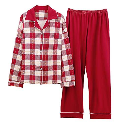 DFDLNL Conjunto de Pijamas para Mujer, Ropa de Dormir a Cuadros Simple, Pijama de Manga Larga, Pijama Suelto para Mujer, Ropa de hogar de algodón de otoño de Talla Grande XXXL