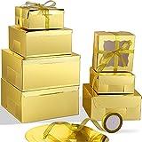 Juego de Cajas de Pastel de Cartón con Ventana, 7 Piezas Cajas de Tarta Resistentes 7 Piezas Tableros de Pastel y 12 Piezas Cintas de Colores, 10 Pulgadas, 8 Pulgadas, 6 Pulgadas (Oro)