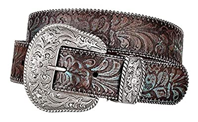 Western Scroll Buckle with Turquoise Tinted Embossed Brown Leather Belt (L)
