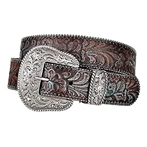 Turquoise Tinted Embossed Brown Leather Belt 15