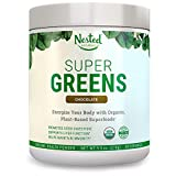 Super Greens Chocolate | #1 Green Veggie Superfood Powder | 100% USDA Organic Non-GMO Vegan Supplement | 30 Servings | 20+ Whole Foods (Wheat Grass, Spirulina, Chlorella), Probiotics, Fiber, Enzymes