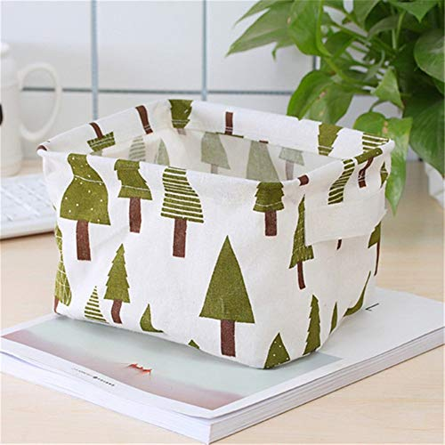 DFYUTJ Desktop Storage Basket Sundries Underwear Toy Storage Box Cosmetic Book Organizer Stationery Container Laundry Basket Laundry basket with waterproof coating (Color : Small tree)