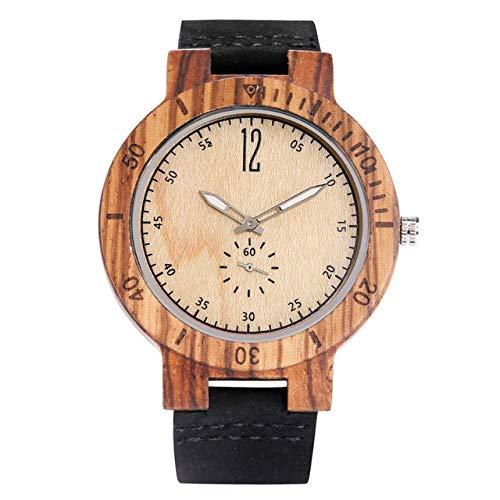 LOOIUEX Holzuhr Leuchtende Zeiger Zebrawood Uhr für Männer Quarz Armbanduhr Echtleder Herrenuhren Sekunden Kleines Zifferblatt, Zebrawood weißes Zifferblatt