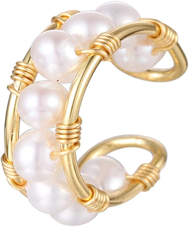Handmade Earring for Women, Hypoallergenic Pearl Stud Earrings,14k Gold Plated Stud Earrings for Gilrs