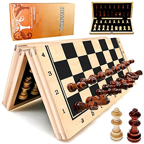"""Wooden Magnetic Chess Set, YJZ 12"""" Chess Board Portable for Folding, Travel Chess Sets for Adults, Including Extra 2 Queens, Set with Storage Slot, Portable Birthday Gift for Children and Beginners"""