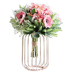 jixi Artificial Flowers, Silk Fake Flowers with Vase for Wedding Bouquets, Table Centrepiece, Home Garden Party Wedding Decoration Artificial Flower