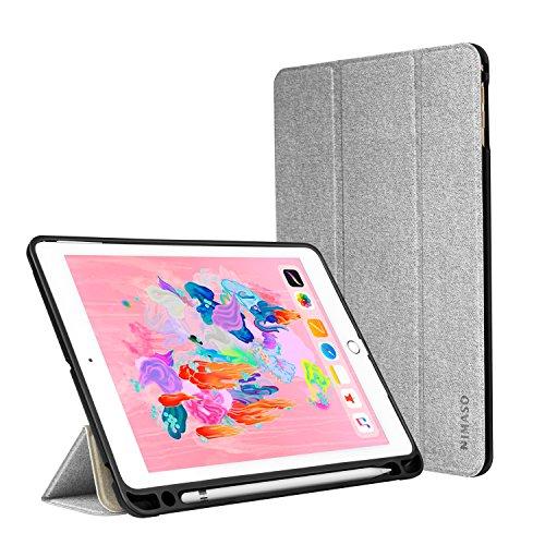 Nimaso iPad 9.7 2018/2017ケース/iPad Pro 9.7 ケース 第6/5世代 ペンシル収納 オートスリープ機能 三つ折スタンド 薄型 TPU キズ防止 指紋防止 全面保護 スマートカバー(グレー)