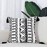 hi-home 1 funda de cojín decorativa bohemia de algodón con borla para sofá, dormitorio, salón, coche, 45 x 45 cm (negro y blanco)