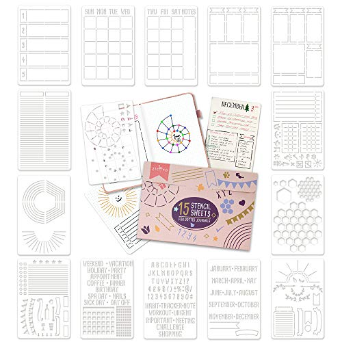 Ultimate Productivity Stencil Set for Dotted Journals - Time Saving Planner Accessories/Supplies Kit Makes Creating Layouts Easy - Incl. Bullet Point Checklists, Daily/Weekly/Monthly Calendars