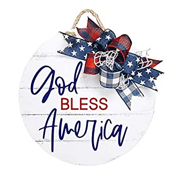 general3 Patriotic Welcome Sign for Front Porch Decor-15.74  Independence Day Nordic Hanging Signs -Farmhouse Wooden Ornament Wreaths for Door Wall Outdoor-Housewarming Gift 4th of July Home Decor  B