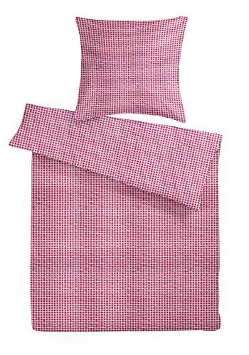 Carpe Sonno Seersucker Bettwäsche 135x200 cm rot - weiß-rot Karierte Sommerbettwäsche aus 100% Baumwolle Bettgarnitur mit Reißverschluss - Bettbezug Set 2teilig mit Kopfkissenbezug 80x80 bügelfrei