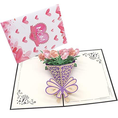 Tarjetas de felicitación 3D emergentes, tarjetas de regalos creativas para cumpleaños, día de la madre, aniversario de matrimonio, amantes (Amo a la mamá)