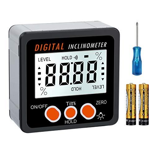 Digitaler Winkelmesser, AMTOVL 0-360° Aluminiumlegierung Digitaler Neigungsmesser LCD Elektronische Winkelmesser Abschrägungsbox mit Magnetenbasis