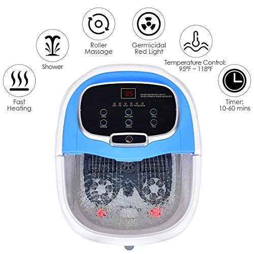 Giantex Foot Spa Bath Massager w/Heat, Water Shower Adjustable in Angles, Motorized Shiatsu Massage Balls & 2 Maize Rollers, Time & Temper Control, LED Display, Home Pedicure Foot Bath Tub, Blue
