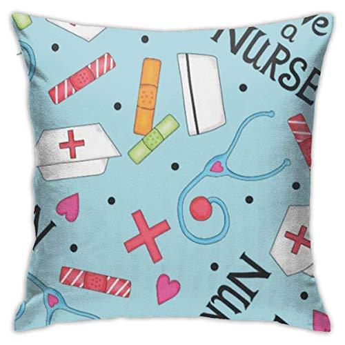 Sdltkhy Funda de Almohada Love A Nurse Whimsy Blue Portátil 18'x18 Funda de Almohada de Lino de algodón con Cremallera Cuadrada