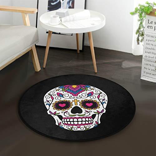 Mnsruu Tapis rond pour salon, chambre à coucher, motif tête de mort mexicaine - Noir - Diamètre : 92 cm