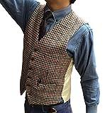 Solove-Suit Chaleco clásico de tweed para hombre, a cuadros, corte ajustado, para bodas café XXL (pechos 52'/cintura 46')