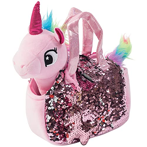 Little Jupiter Plush Pet Set with Purse - Unicorn Toys - Unicorn Stuffed Animal - Plushie - Plush Toy for Girls - Kids - with Reversible Sequins & Charm (Pink Unicorn)