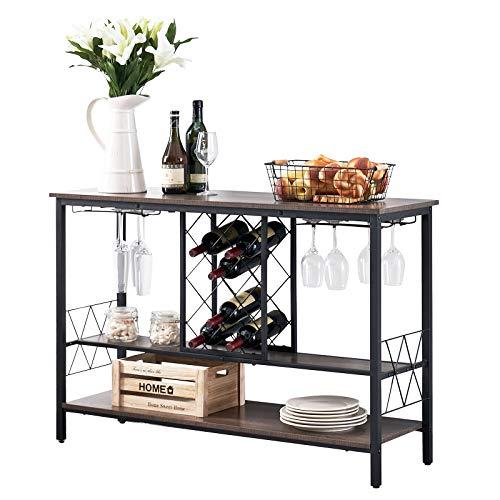 Symylife Tavolo portabottiglie in Legno, Tavolo consolle, Mobile Wine Bar, Tavolo consolle a 2 Livelli Tavolo da Ingresso in Legno per Soggiorno, Marrone Vintage
