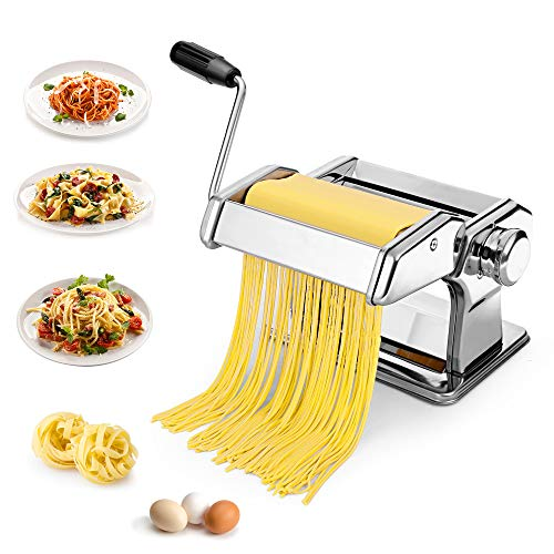 Devo Pasta Maker Machine Stainless Steel Manual Pasta Roller with 7 Adjustable Thickness Settings Noodles Cutter for Spaghetti Fettuccini Lasagna