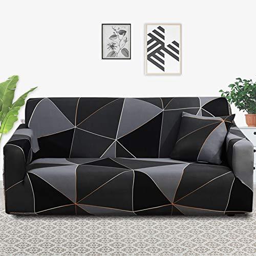 Funda de sofá con patrón de Costura geométrica y de Color, Utilizada para la Toalla del sofá de la Sala de Estar, Funda para Mascotas, Funda elástica para sofá A23 de 4 plazas
