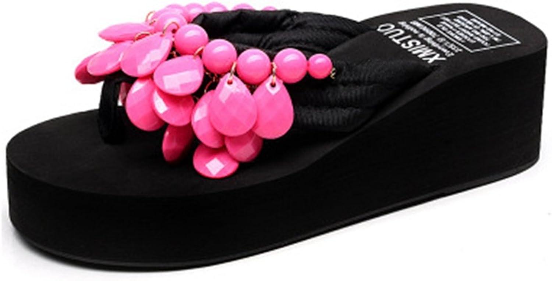GIY Womens Fashion Wedges Platform Sandals Bohemian Summer Beach Anti-Slip Thong Outdoor Flip Flops Sandals pink Red