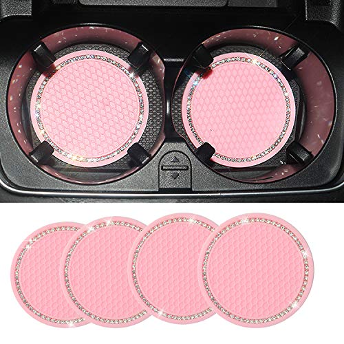 KOLODOGO 4PCS Bling Diamond Car Cup Holder Coaster, 2.75' Crystal Rhinestone Anti Slip Insert Coaster Universal Vehicle Silicone Cup Mats Auto Interior Accessories