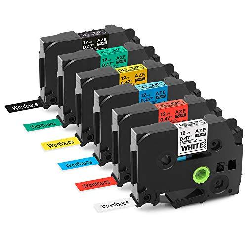 6 x Wonfoucs kompatible Schriftband als Ersatz für Brother P-Touch TZe 12mm TZe-231 TZe-431 TZe-531 TZe-631 TZe-731 TZe-335 für Brother PTouch PT-H105 PT-H100 PT-1005 PT-1000 PT-1010 PT-1080 PT-H101c