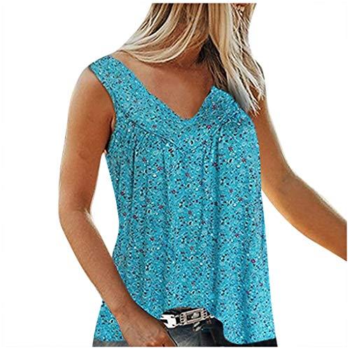 Blusa para mujer, cuello en V, flores, plisada, sin mangas, transpirable, cómoda, irregular azul XXXXXXXL