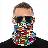 Holefg3b Unisex Microfiber Neck Gaiter Shieldask Dust Bandanas Cover Set Flags Todos los países en Mouth Cover