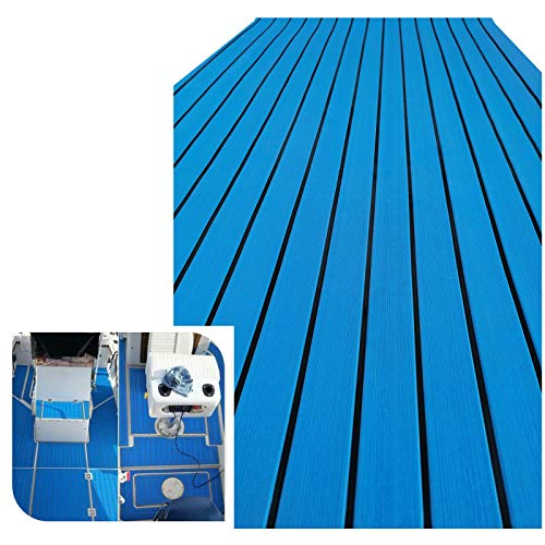 yuanjiasheng Suelo de Espuma EVA para Barcos, Cubierta de Teca de imitación Marina para yate, Alfombra Antideslizante con Adhesivo, Borde Biselado de 90 × 240 cm (Azul Claro con Negro)