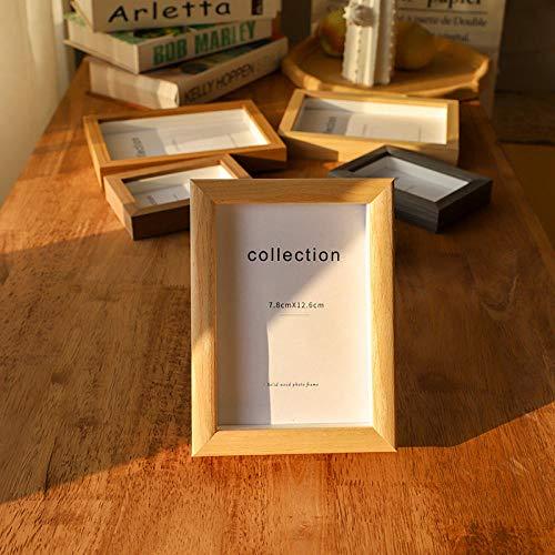 QKEMM Bilderrahmen Fotorahmen Modern Souvenir Einfacher Bilderrahmen Massivholz Den Tisch Decken+An Die Wand Hängen 10,2×15,2cm Holz Farbe Eins