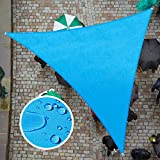 ColourTree 12' x 12' x 12' Blue TADT12 Triangle Waterproof Sun Shade Sail Canopy Awning Shelter Fabric, 95% UV Blockage UV & Water Resistant, Outdoor Patio Garden Carport (We Make Custom Size)
