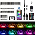AMBOTHER 12-pc Motorcycle LED Light Kit Strips RGB Waterproof with APP IR RF Wireless Remote Controllers Multi-Color Underglow Neon Ground Effect Atmosphere Lights