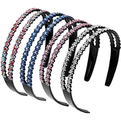 Strass Haarband Doppel Kristall Seite Modische Haarreife Hart Rutschfeste Zinken Stirnband Haarschmuck für Damen Mädchen 4 Stück (Gemischte Farben)