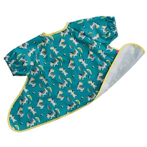 Babero para Weaning – Cebras Danzarinas – Babero de manga corta esencial para el BLW. Babero Impermeable que se ajusta a la bandeja Tidy Tot.
