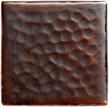 The Copper Factory CF143AN Solid Hammered Copper 2-Inch by 2-Inch Decorative Accent Tile, Antique Copper