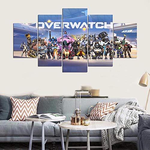 ZhuHZ Cartel de Arte de Pared de Lienzo decoración del hogar Personaje de Juego de Mesa Moderno 5 para Sala de Estar Marco de Pintura de Imagen Modular de impresión HD