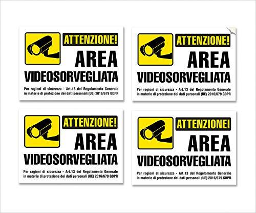 4 Adesivi Videosorveglianza in PVC - Area Videosorvegliata, Impermeabili, in Italiano, mis: 15x10 cm - 4 pz.