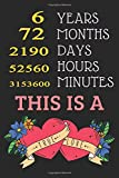 6 Years 72 Months This is A True Love: Happy Marriage Anniversary Notebook Gift For Valentine Day Wedding Anniversary Journal To Write in 110 Pages 6x9 inches Matte Finish Cover