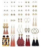 Finrezio 35 Paare Mehrere Ohrringe Set für Frauen Mädchen Ohrstecker Boho Creolen Baumeln Acryl Quaste Ohrringe Statement
