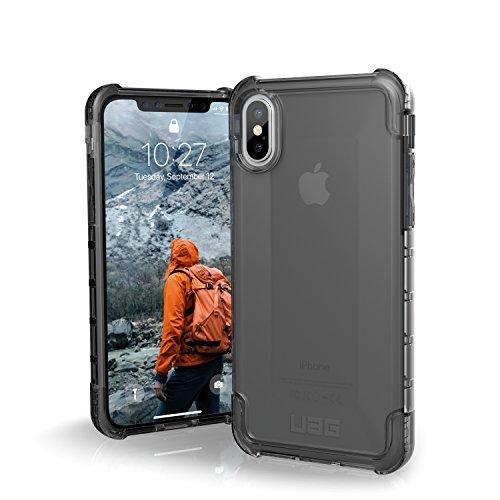 Urban Armor Gear Plyo Hülle für das Apple iPhone Xs / X Handyhülle nach US-Militärstandard (Qi kompatibel, Verstärkte Ecken, Vergrößerte Tasten) - dunkel (transparent)