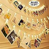 50 LEDs Clips Photos Guirlande Lumineuse,VIFLYKOO 6M 8 Modes Photo Chaîne Légère USB/Fonctionne avec télécommande Cadre photo décoratif pour intérieur, maison, Noël, Mariage - Blanc chaud
