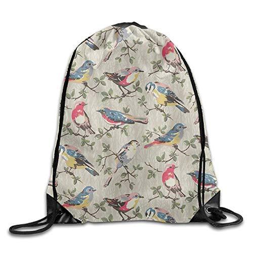 Etryrt Prime Sacs à Cordon,Sac à Dos, Gym Drawstring Bags Bird Branch Pattern Draw Rope Travel Backpack Tote Student Camping