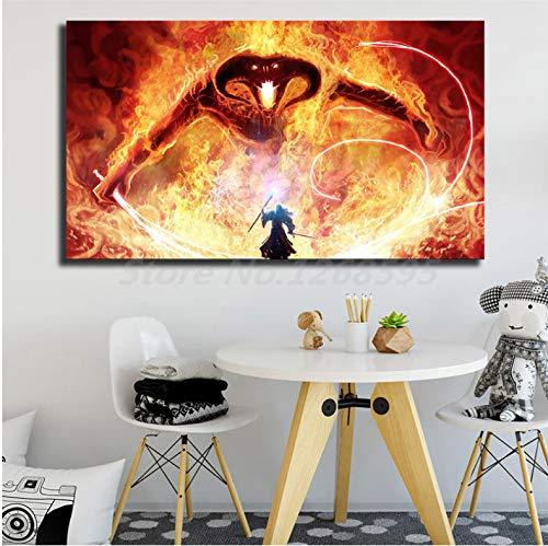 asfrata265 Herr Der Ringe Balrog Gandalf Feuer Tolkien Magic Monster Art Leinwand Wandmalerei Poster Druckbild Ungerahmte Malerei Fg1353 (40X60Cm)