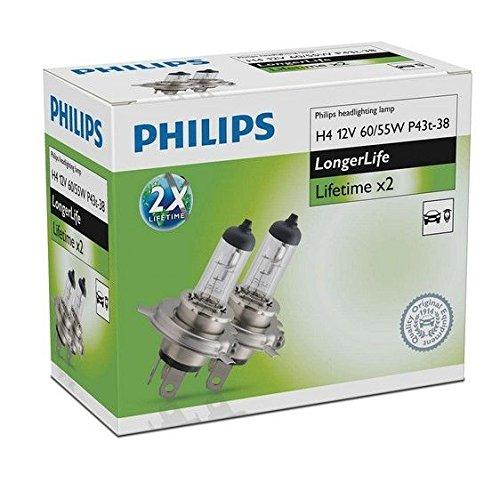 Philips 12342ELC2 H4 12 V 60/55 W P43t LongerLife Lot de 2 ampoules halogènes Lifetime x2